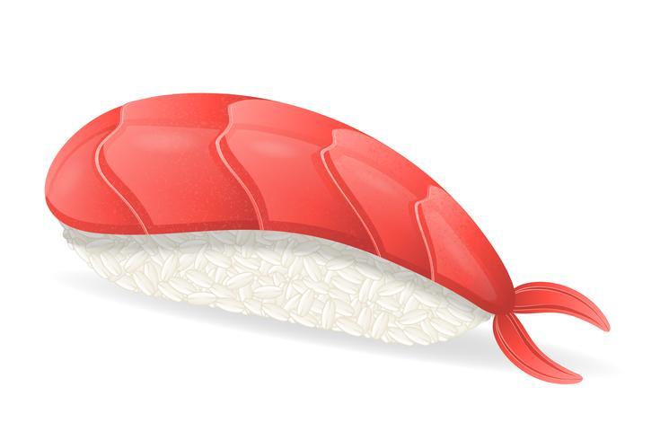 sushi com ilustração vetorial de camarão vetor
