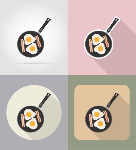 ovos com bacon em uma frigideira alimentos e objetos ícones planas ilustração vetorial vetor