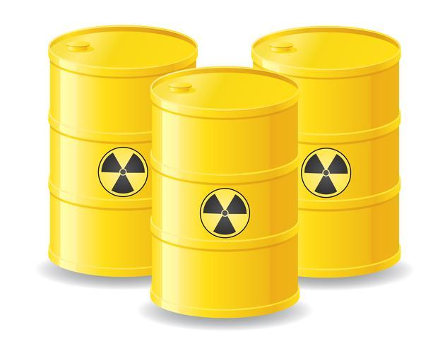 barris amarelos de ilustração vetorial de resíduos radioactivos vetor