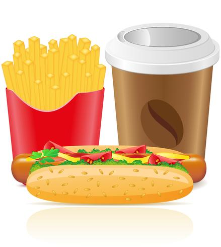 cachorro-quente frita batata e copo de papel com café vetor