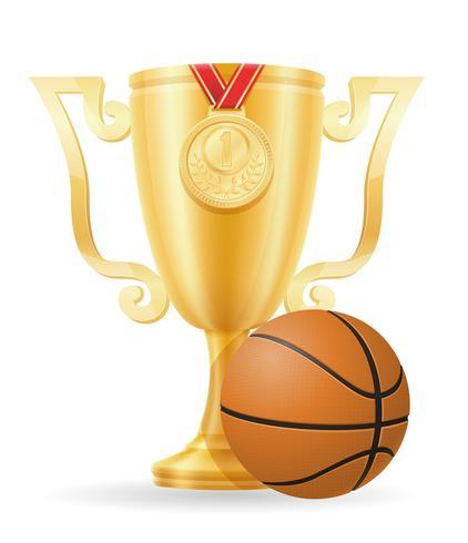 ilustração em vetor estoque ouro Copa vencedor de basquete