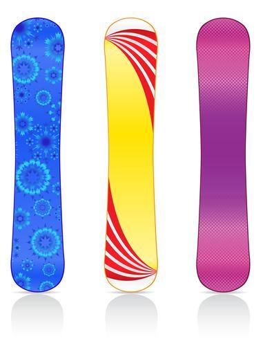 placas para ilustração vetorial de snowboard vetor