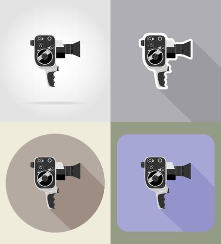 antiga ilustração em vetor ícones retrô vintage filme vídeo câmera plana
