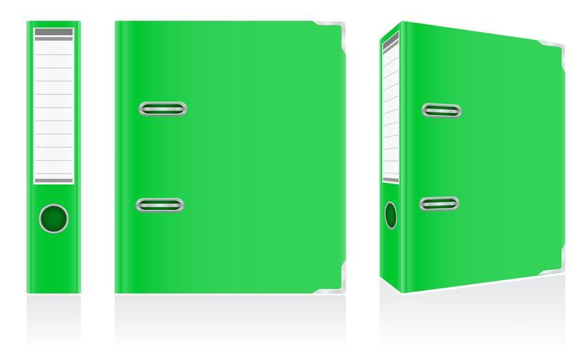 anéis de metal de pasta verde pasta para ilustração vetorial de escritório vetor