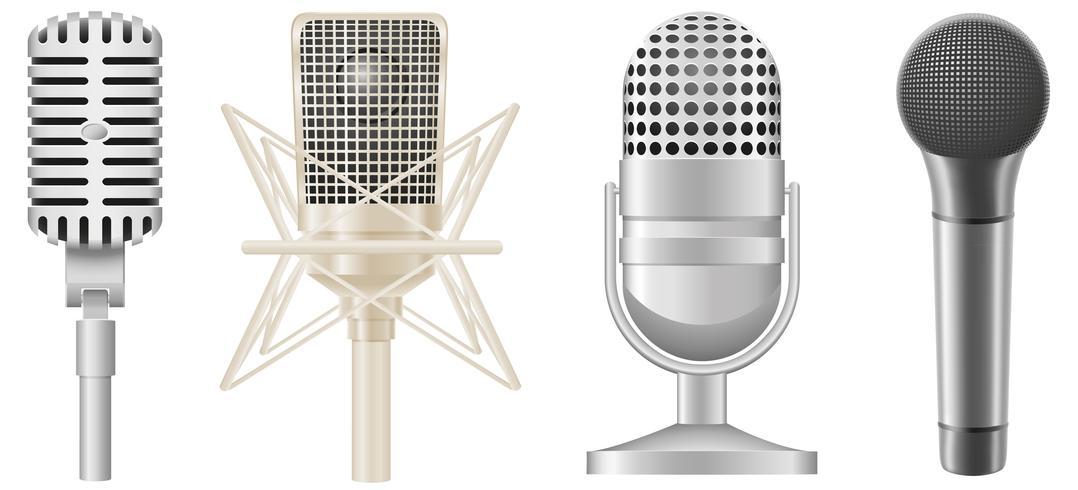 conjunto de ícones de ilustração vetorial de microfones vetor