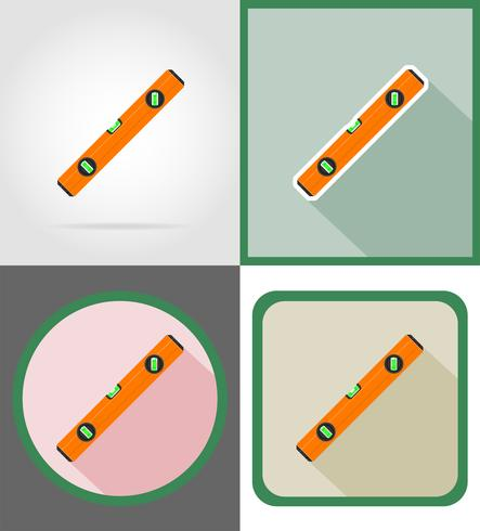 reparação de nível e construção de ferramentas ícones planas ilustração vetorial vetor