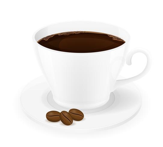 xícara de café e grãos vector illustration