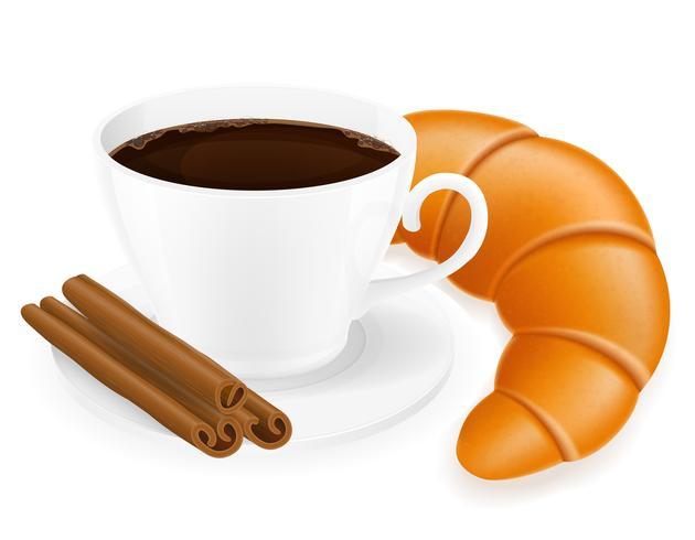 xícara de café e croissant ilustração vetorial vetor