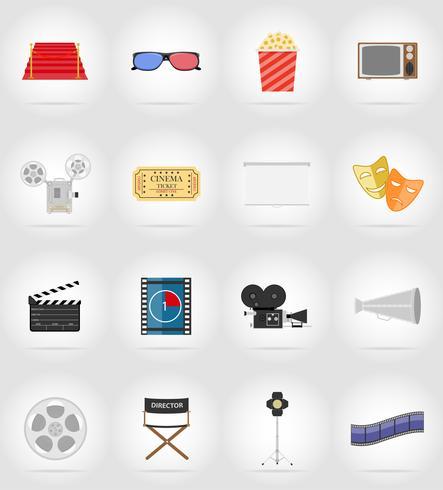 ícones do cinema plana ícones ilustração vetorial plana vetor