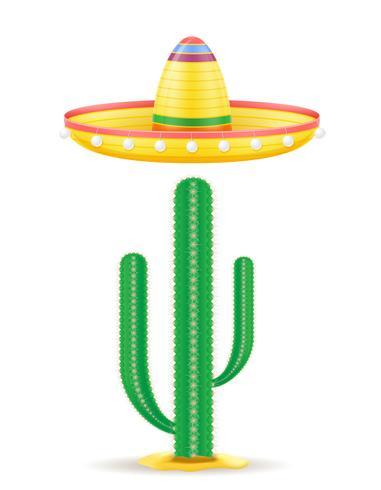 cocar mexicano nacional de sombrero e cactus vector illustration