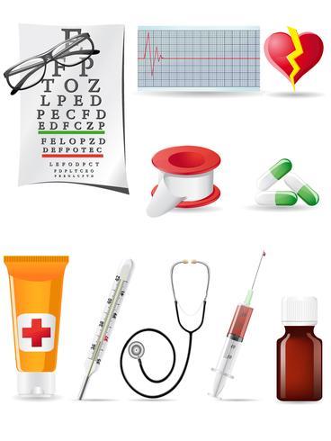 conjunto médico de ícone vetor