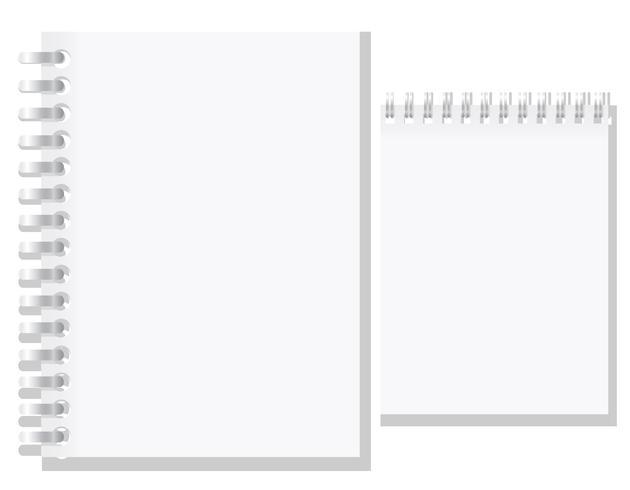 conjunto de ilustração vetorial de caderno em branco branco vetor