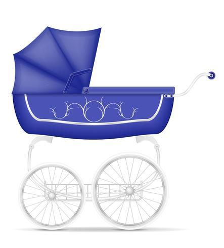 ilustração de estoque retrô bebê carruagem vetor