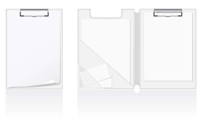 conjunto de ilustração vetorial de pasta em branco branco vetor