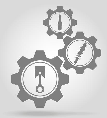 ilustração em vetor conceito mecanismo de engrenagem de peças de carro