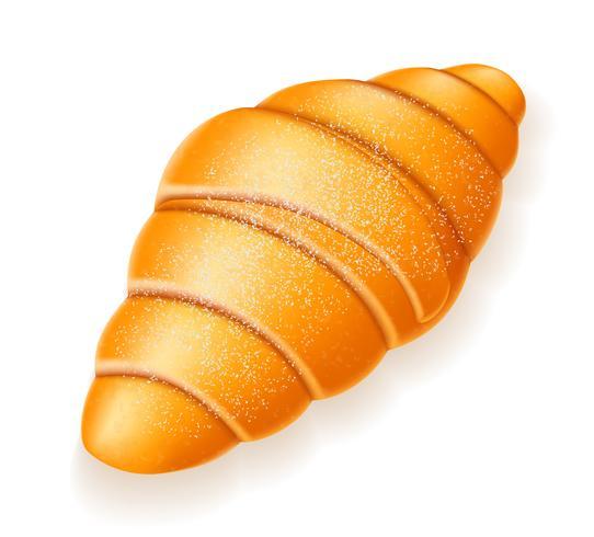 croissant crocante polvilhado com ilustração vetorial de açúcar em pó vetor