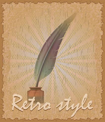 estilo retro cartaz velho pena e tinteiro vector illustration