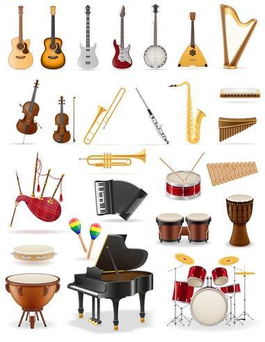 instrumentos musicais definir ilustração em vetor de estoque de ícones