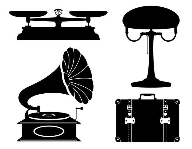 aparelhos domésticos velhos retro vintage conjunto de ícones de ilustração vetorial de estoque vetor