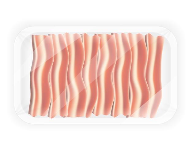 Bacon fatiado na ilustração vetorial pacote vetor