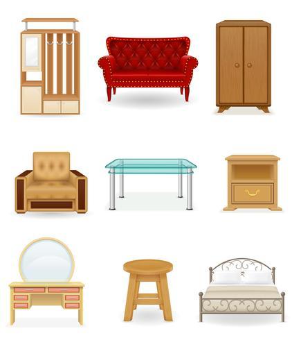 conjunto de ícones ilustração vetorial de móveis vetor