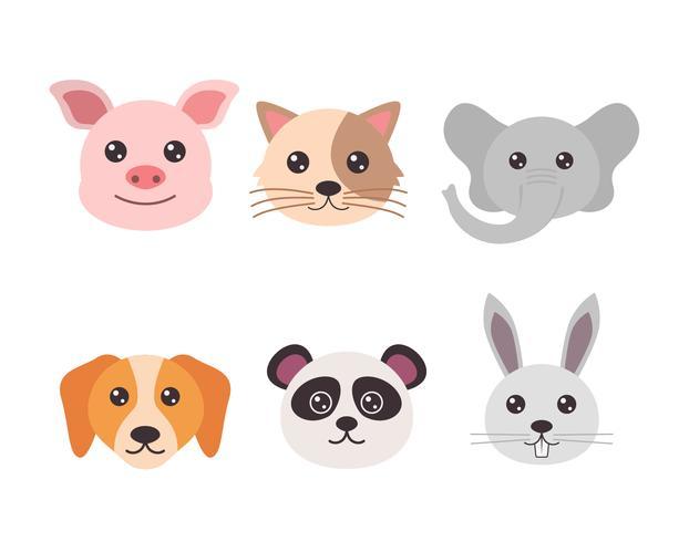 Vetor De Rostos De Animais
