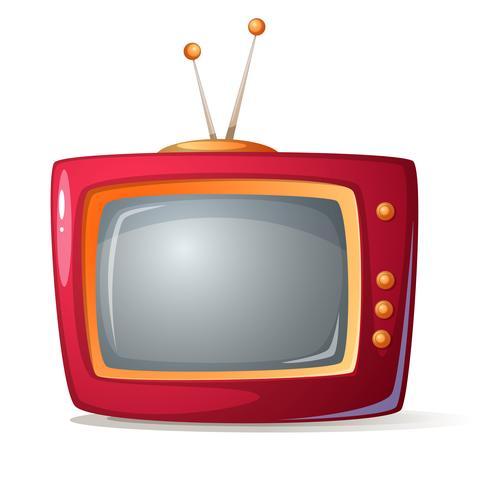 Tv vermelho dos desenhos animados. Sombra e brilho. vetor