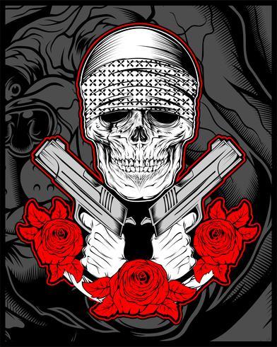 máfia de crânio, gengibre usando bandana com arma uma rosas vetor