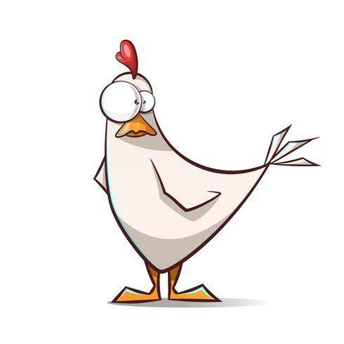 Personagens de galinha engraçado, bonito dos desenhos animados. vetor