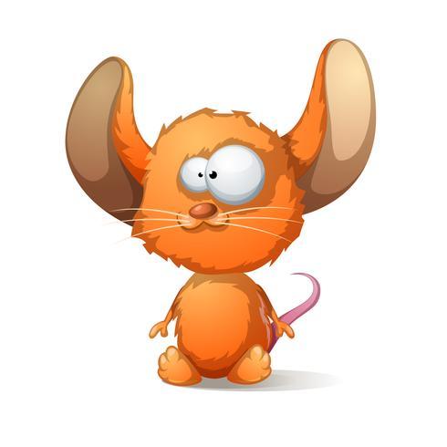 Rato de desenhos animados com orelha grande vetor