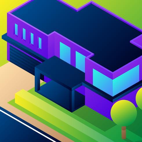 Ilustração isométrica da casa 3D vetor