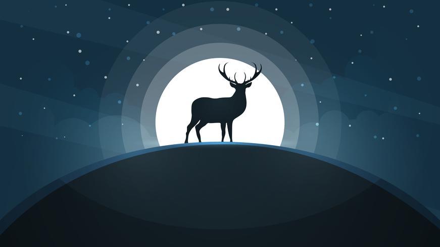 Cervos no monte - paisagem dos desenhos animados. vetor