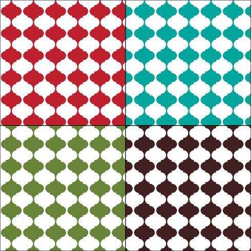 Padrões de azulejos arabesco sem costura colorida marroquina vetor
