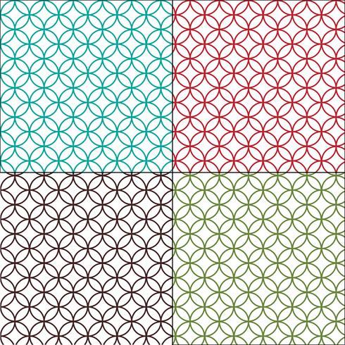 Esboço marroquino interligados padrões de telha de círculos vetor