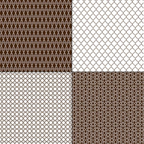 padrões geométricos marroquinos marrons vetor
