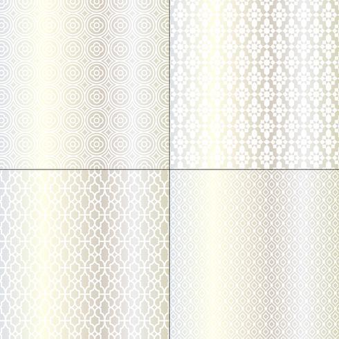 prata metálica e padrões marroquinos brancos vetor