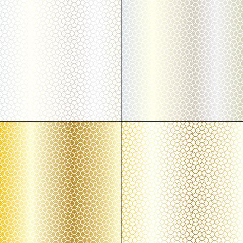 prata e ouro padrões geométricos ondulantes marroquinos vetor