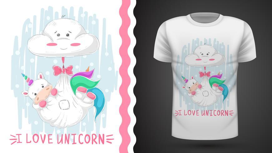 Sono do unicórnio da peluche - ideia para o t-shirt da cópia. vetor