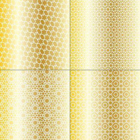 padrões marroquinos de ouro branco e metálico vetor