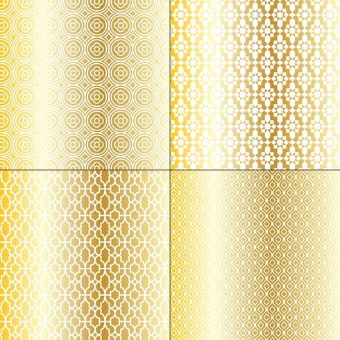 ouro metálico e padrões marroquinos brancos vetor