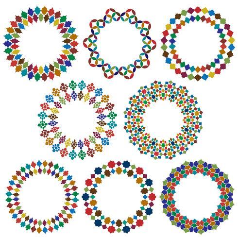 quadros de círculo de estilo marroquino ornamentado vetor