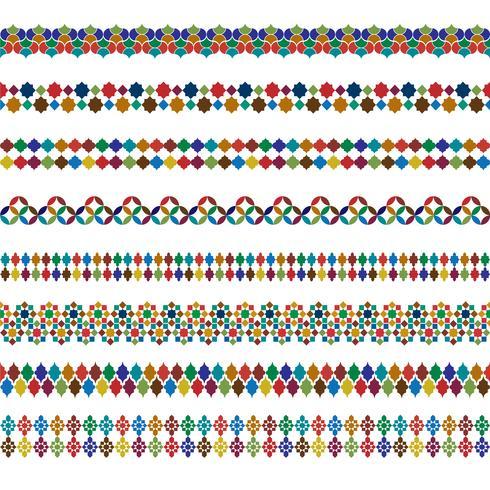 fronteiras marroquinas coloridas ornamentadas vetor
