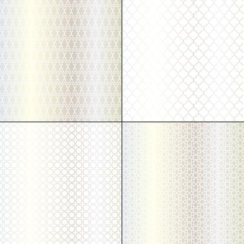 padrões geométricos marroquinos de prata metálicos vetor