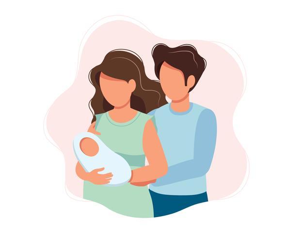 Pais felizes - ilustração bonito do conceito dos desenhos animados de um par que guarda o bebê recém-nascido, cuidados médicos, parenting, medicina. vetor