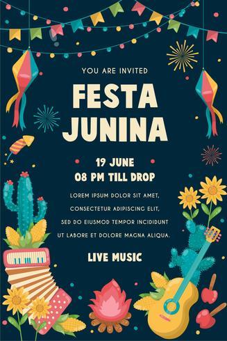 Festa Junina Pôster Brazil June Festival. Folclore de férias. vetor