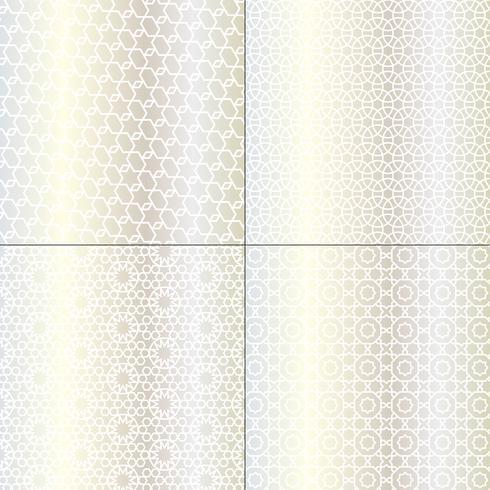 padrões marroquinos de prata brancos e metálicos vetor