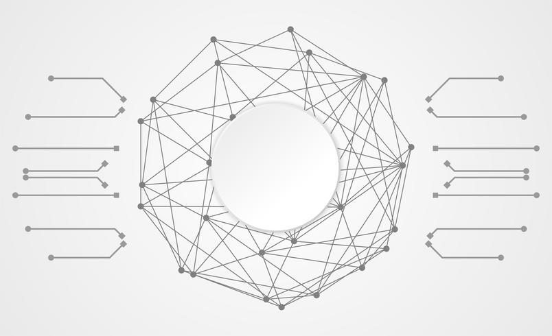conexão de link digital de círculo de tecnologia abstrata em fundo branco de oi tech cinza vetor