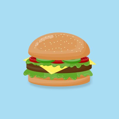 Hamburguer da ilustração do vetor com queijo, carne, salada, tomate no fundo azul.