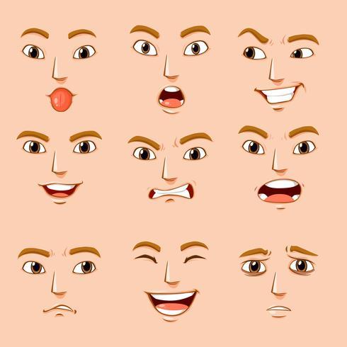 Diferentes expressões faciais de humanos vetor