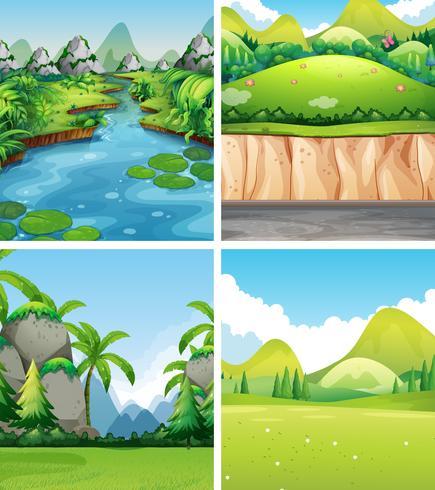 Quatro cenas da natureza diferentes vetor